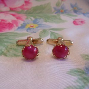 Vintage Pink Glow Gold Tone Cuff Links